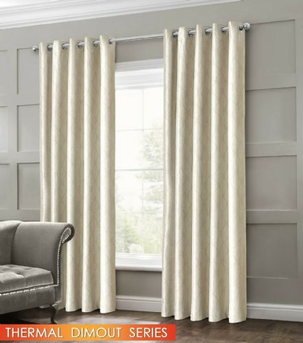 GEOMETRIC WAVE EMBOSSED LIVINGROOM BEDROOM THERMAL BLACKOUT RING TOP CURTAINS CREAM